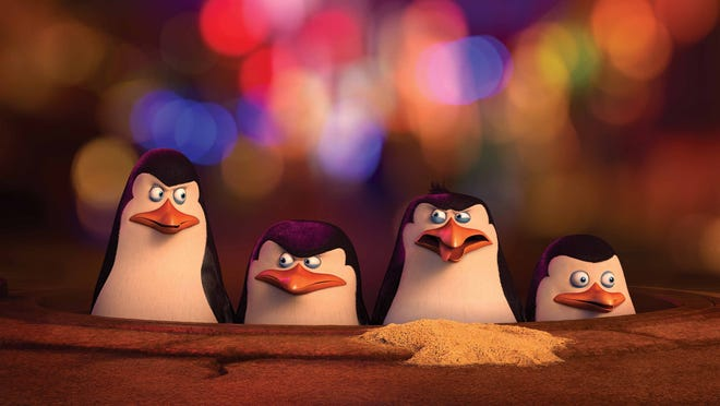 """Kowalski, left, (voiced by Chris Miller), Skipper (voiced by Tom McGrath), Rico (voiced by John DiMaggio) and Private (voiced by Christopher Knights) get caught up in the Shanghai Market in """"The Penguins of Madagascar."""""""