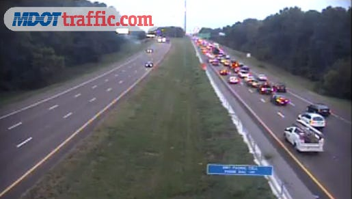 Traffic is backed up by an accident