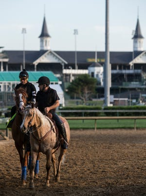 Kentucky Derby winner Justify leaves the track following a morning gallop at Churchill Downs. May 10, 2018.