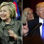 Hillary Clinton and Donald Trump speak at their respective primary night events on April 26, 2016