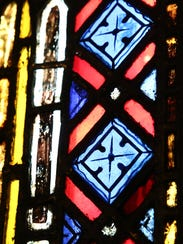 Detail of a stained glass window inside Saint Margaret's