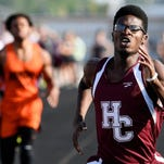 MIKE LAWRENCE / THE GLEANER Henderson County's Ayinde Charles at the finish line to win the boys 400 meter dash at Saturday's regional track meet held at Colonel Field in Henderson, May 21, 2106.