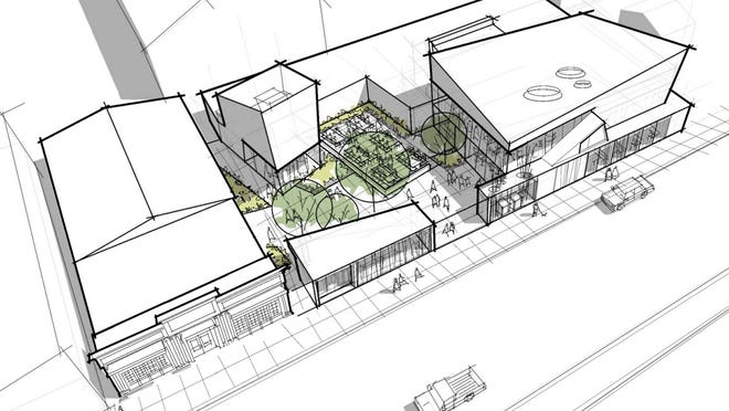 A designer's sketch of a proposed renovation of the Dogfish Head brewpub in Rehoboth Beach is shown.