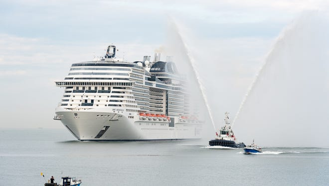 MSC Cruises' new MSC Meraviglia arrives in Le Havre, France on July 2, 2017 in advance of its christening.