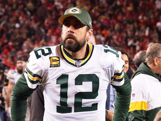 Jan 19, 2020; Santa Clara, California, USA; Green Bay Packers quarterback Aaron Rodgers (12) reacts following the loss against the San Francisco 49ers in the NFC Championship Game at Levi's Stadium. Mandatory Credit: Kelley L Cox-USA TODAY Sports