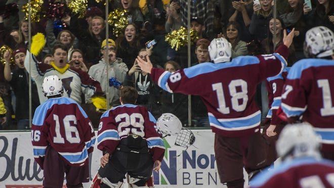 North Country goalie Dana Marsh, #29, leads the rush to the stands to celebrate their DII boys hockey state championship win over Harwood Union at UVM Thursday night, March 9, 2017.