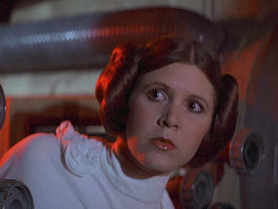 "Fisher as Princess Leia in the original ""Star Wars"""