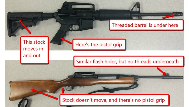 """Here's why the top rifle is considered an """"assault weapon"""" and the bottom one is not."""