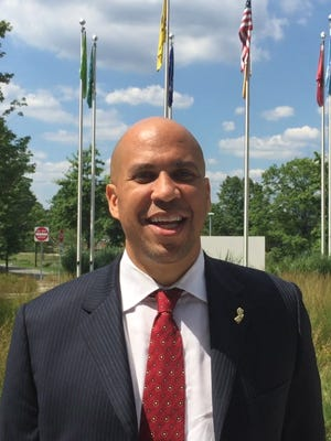 Sen. Cory Booker visits the North American Headquarters of the BASF Corp. in Florham Park Aug. 3, 2016.