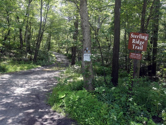 The trailhead for the Sterling Ridge Trail, which is part of the 22,000 acre Sterling Forest State Park.