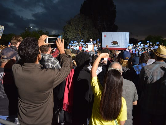 A crowd of about 5,000 listen to democratic presidential candidate Bernie Sanders speak during a rally at Kimball Park in National City on Saturday, May 21, 2016.