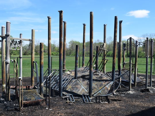 A fire destroyed $60,000 worth of playground equipment at Francis Bellamy School 102, 9460 E. 36th Place in Indianapolis, Tuesday, April 18, 2017.