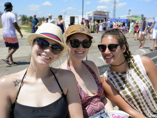Visitors to Asbury Park (from left) Susan Rickter of Fair Lawn, Audery Andrews of Ringwood and Alicia Rosato of Old Tappan, are shown on the boardwalk in Asbury Park on July 2, 2017.