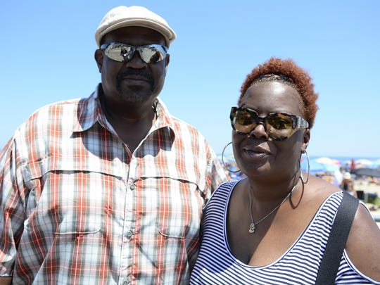 Visitors to Asbury Park, Karen Howard (right) and Mike Ramsey (left) of Joppa Maryland, are shown on the boardwalk in Asbury Park on July 2, 2017.