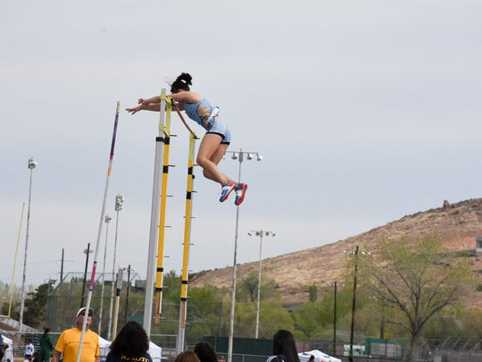 Reed senior Alysia Allen cleared 12-10 in the pole vault Saturday at Reed.