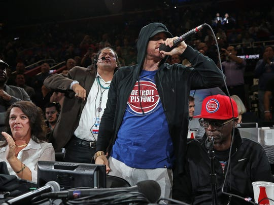 Eminem attends the Charlotte Hornets game against the