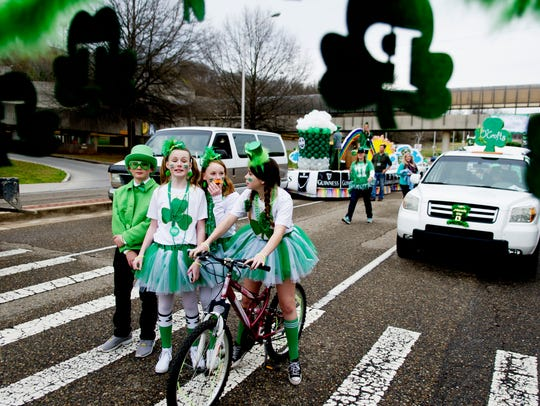 Parade members wait for the start of the Knoxville St. Patrick's Day Parade in downtown Knoxville, Tennessee on Friday, March 17, 2017. After an almost 30-year absence, the Knoxville St. Patrick's Day parade returned in 2017.