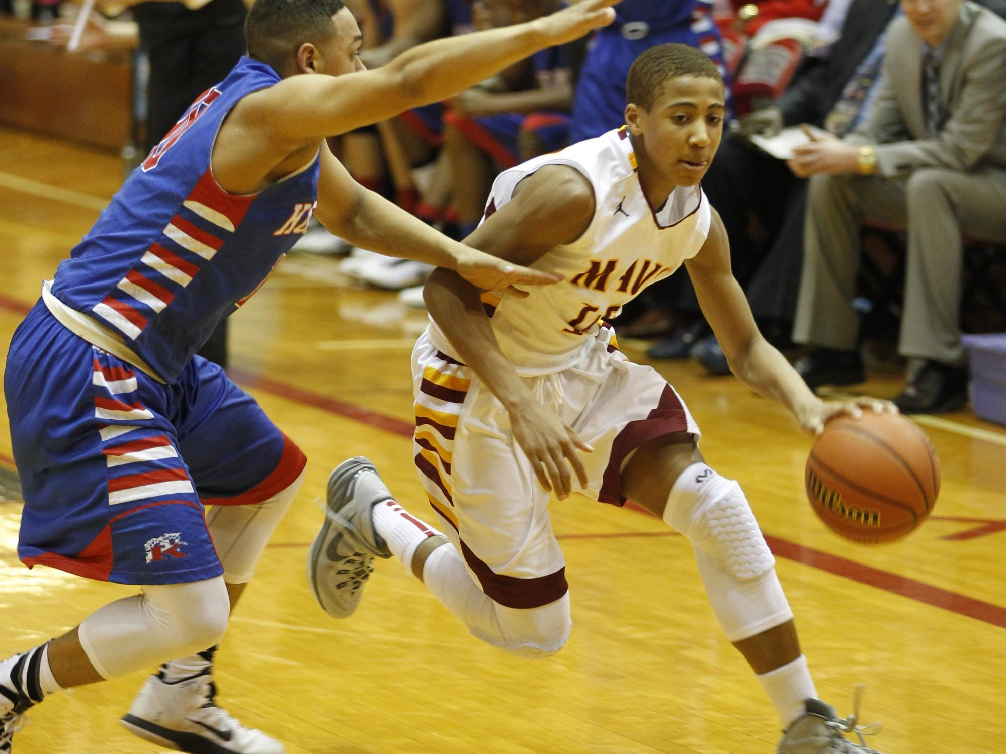 McCutcheon rising sophomore Robert Phinisee, shown here last March against Kokomo, is getting important experience and exposure this summer.