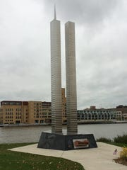 The 9/11 memorial along the Fox River outside the Neville Public Museum in downtown Green Bay.