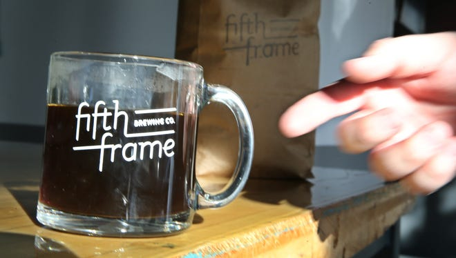 A cup of fresh brewed coffee at the new Fifth Frame Brewery at 155 St. Paul St. in downtown Rochester Thursday, Oct. 19, 2017.