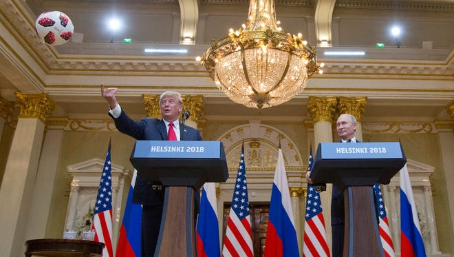 """Slotkin writes: """" Unfortunately, President Trump's response to Russian meddling was to knock down that fence and invite the Russian intelligence services to drive their truck all over our front yard."""""""