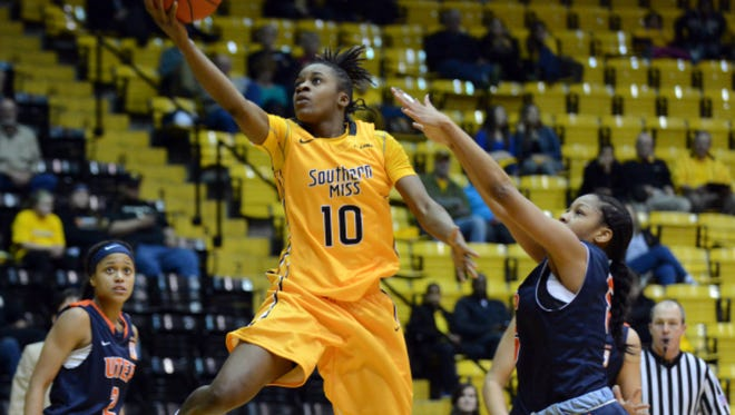 University of Southern Mississippi player Jerontay Clemons (10) attempts to make a basket during a game against UTEP at Reed Green Coliseum Saturday.