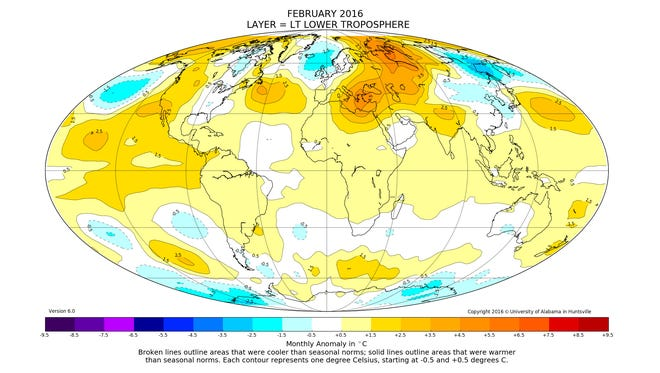 Most of the world's atmosphere was warmer-than-average (yellow, orange and red areas) in February.