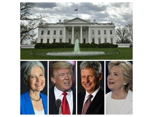 Presidential candidates for the Green, Republican, Libertarian and Democratic parties hope to earn a four-year term in the White House.