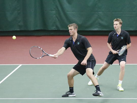 The Green Bay Notre Dame doubles team of Charlie Parish and Isaac Hingtgen play a WIAA Division 2 state tournament match against Brown Deer's John Pierson and Craig Schimenz on June 3. The duo went on to win the Division 2 state title.