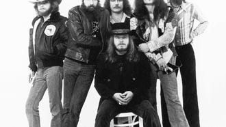 """Members of the musical group Lynyrd Skynyrd in a photo taken for their 1977 album """"Street Survivors."""" --- DATE TAKEN: 1977  No Byline   Courtesy of MCA Archives        HO      - handout ORG XMIT: PX80816"""