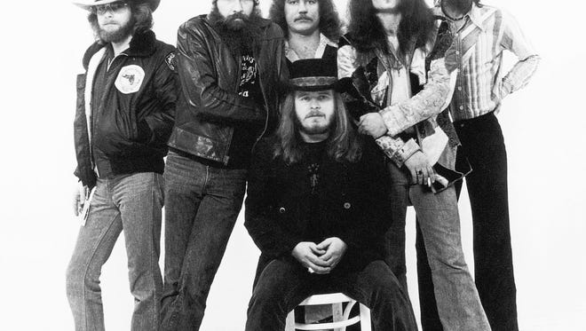 "Members of the musical group Lynyrd Skynyrd in a photo taken for their 1977 album ""Street Survivors."""
