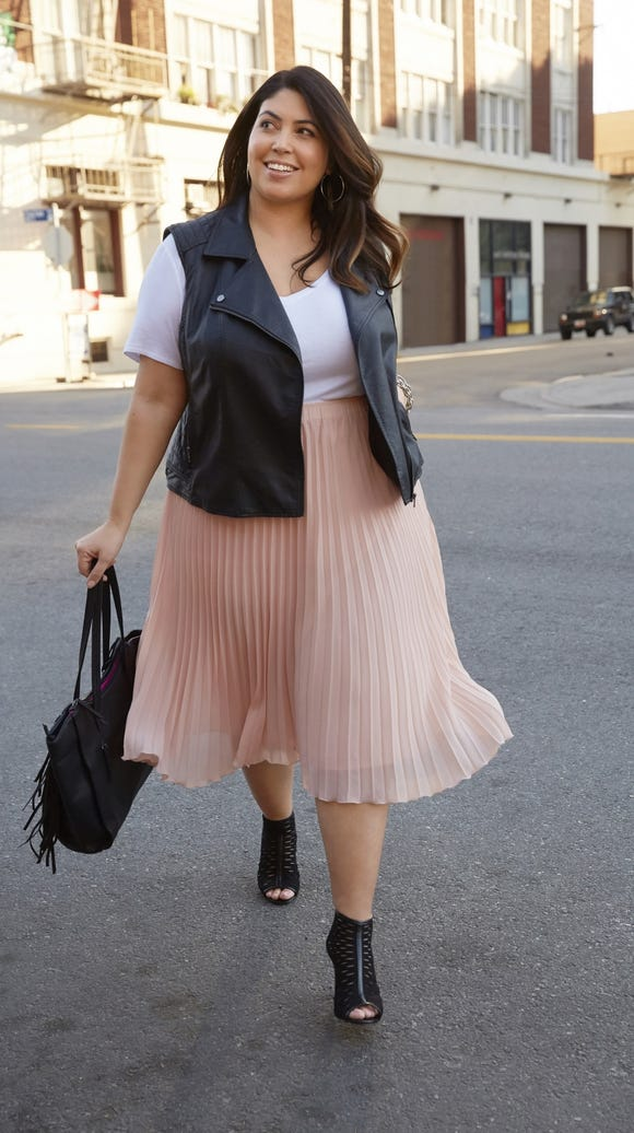 Tee ($28), Moto Vest ($60) and Skirt ($48) from Boutique+.