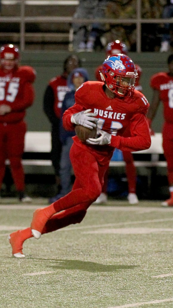 Hirschi's Javen Banks makes the catch Friday at Memorial Stadium against Burkburnett.