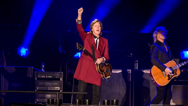 Paul McCartney performs in front of close to 50,000 fans during his Out There tour at Candlestick Park in San Francisco on  Aug. 14.
