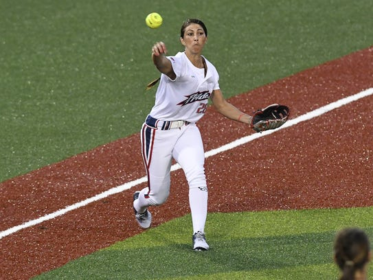 Andrea Duran of the USSSA Pride throws out a baserunner