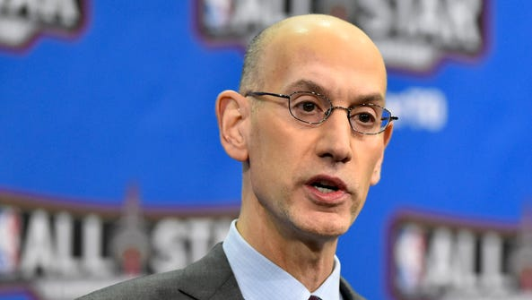 NBA commissioner Adam Silver speaks to the media during