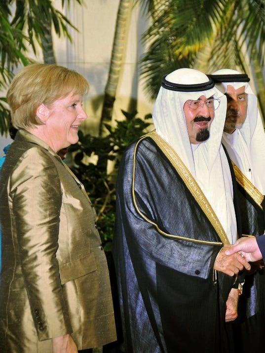 German Chancellor Angela Merkel and King Abdullah