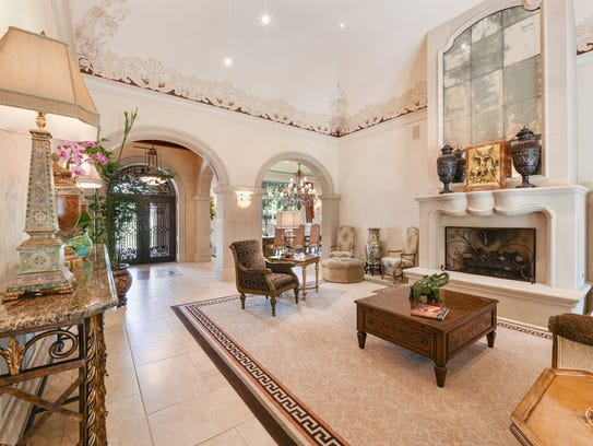 The beautiful living area is grand yet inviting.