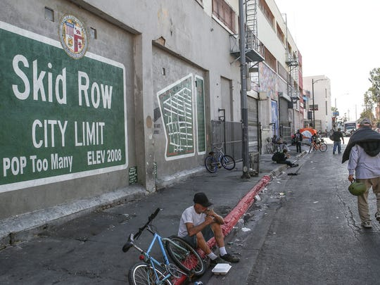 Many inmates released under Prop 47 have ended up homeless on the streets of Los Angeles' infamous Skid Row, shown here in November.