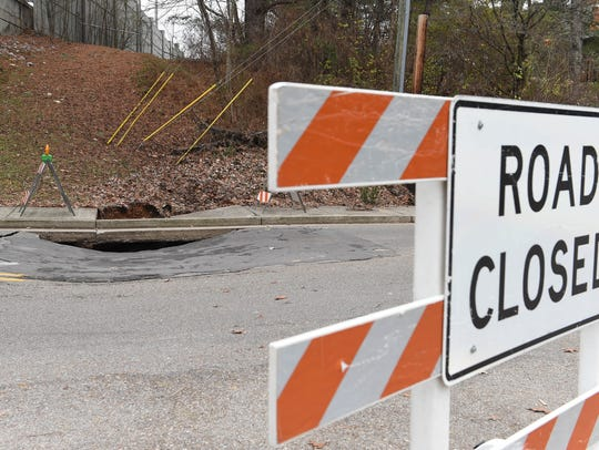 A sinkhole has closed a section of Wesley Rd.  between