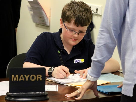 Ben Rick, a St. Mary's of Hales Corners fourth grader, served as the mayor at the Junior Achievement Kohl's Education Center's BizTown on April 19.