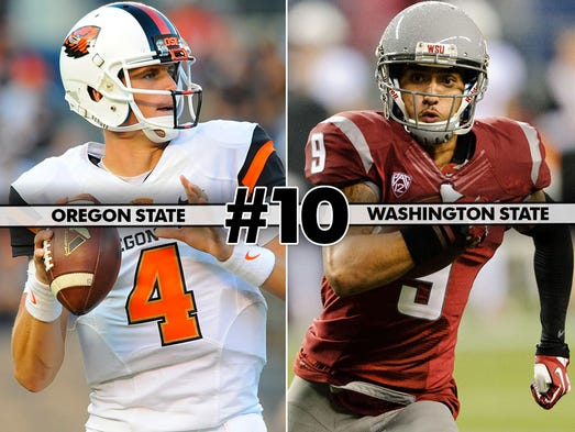 Oregon State (4-1, 2-0) at Washington State (4-2, 2-1), 10:30 p.m. ET, ESPNU: Expect a wide open shootout in Pullman. Oregon State quarterback Sean Mannion leads the nation with 2,018 yards and 21 touchdowns while Washington State's Connor Halliday has 1,993 yards, third in the country. aaa