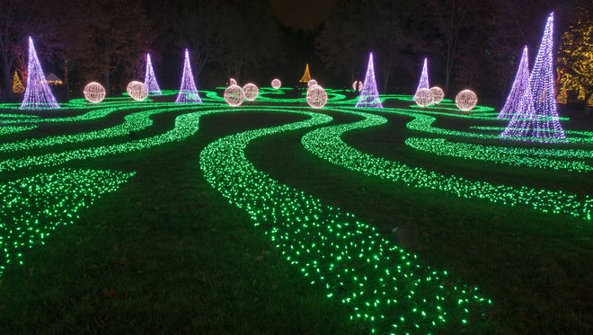 The new Winterlights exhibit at the outdoor Newfields section of the Indianapolis Museum of Art, Thursday, Nov. 16, 2017. The exhibit formally opens on Sunday and runs through January 7, and tickets are at a variety of prices from free for little kids, to $25 for non-member adults at the door.