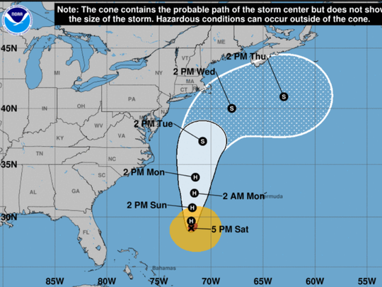 Hurricane Jose at 5 p.m., Sept. 16, 2017.