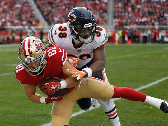 San Francisco 49ers wide receiver Trent Taylor (81), a former Evangel and Louisiana Tech star, has missed the entire 2019 season due to complications from a foot injury.