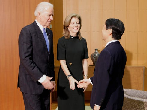 Vice President Biden, left, accompanied by U.S. Ambassador to Japan Caroline Kennedy, is greeted by Japan's Crown Prince Naruhito upon his arrival at the Togu Palace in Tokyo on Dec. 3.
