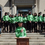 Founder of Team 26, Monte Frank speaks during the cyclists stop at Morristown Town Hall on their ride from Sandy Hook to Washington DC in support of common sense legislation to reduce gun violence. The 26 cyclists also ride to honor all victims of gun violence. March 29, 2015. Morristown, N.J. Bob Karp/Staff Photographer.
