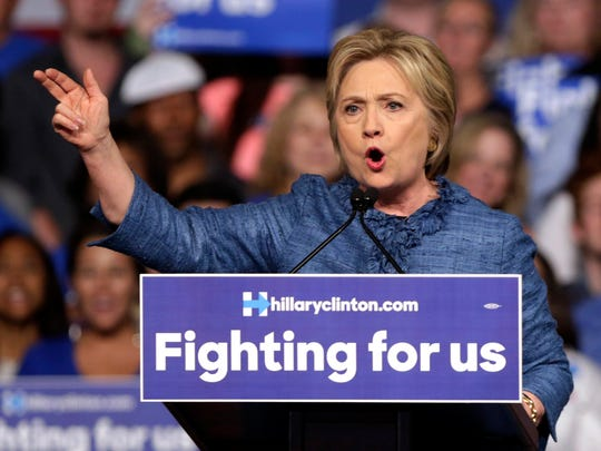 Democratic presidential candidate Hillary Clinton speaks during a rally Tuesday, March 15, 2016, in West Palm Beach, Fla. (AP Photo/Lynne Sladky)
