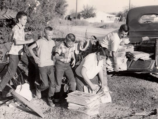 Phoenix Newspapers Inc. delivery people. Date unknown.
