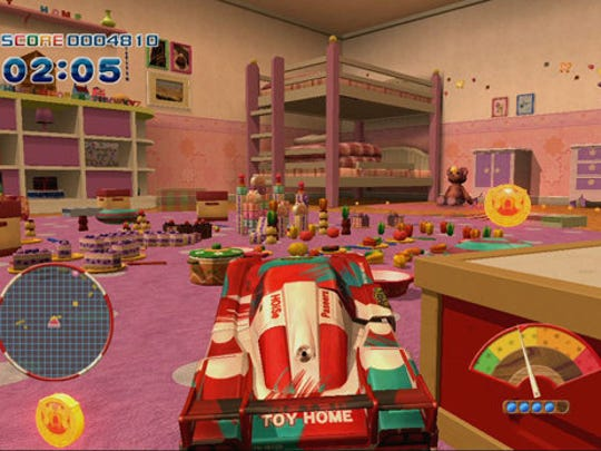 "Race toy cars through various household environments in ""Toy Home."""